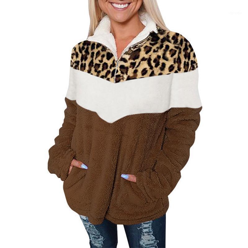 Зимняя одежда женщины повседневная полный леопардовый воротник поворотный воротник на молнии женщины куртка одежда с длинным рукавом пальто женские урожаи1