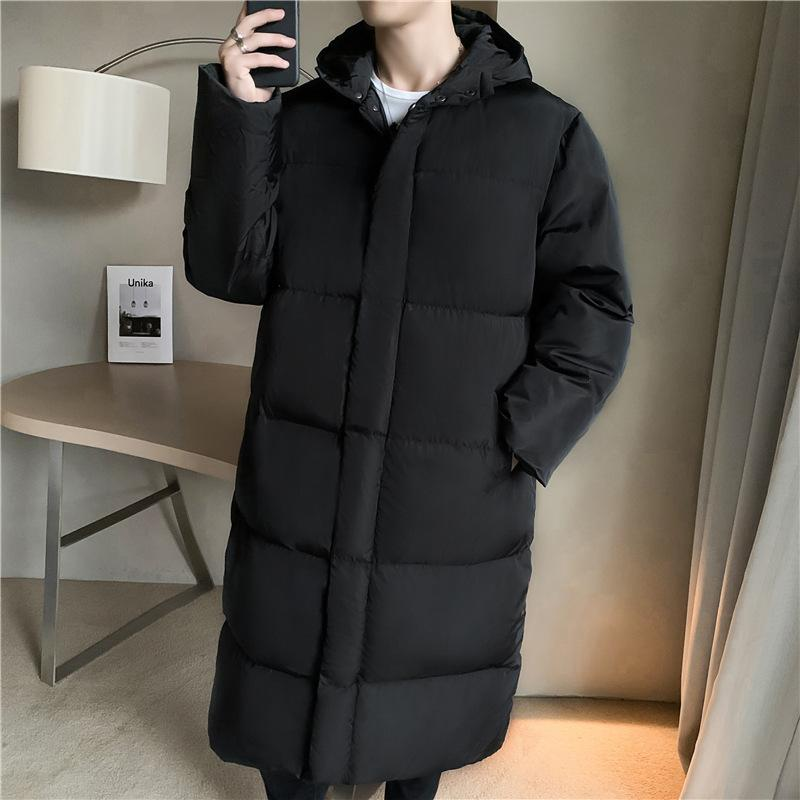 Moyenne longueur moyenne épaissie hiver NOUVEAU NOIR DOWN Veste rembourrée Jeunes Mode coréenne au chaud sur le coton au genou