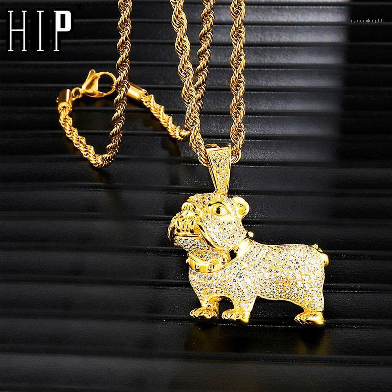 Hip Hop Full Iced Out Bling Pit Bull Dog Necklace Rhinestone Rope Chain Gold Color Pendants & Necklaces For Men Jewelry1