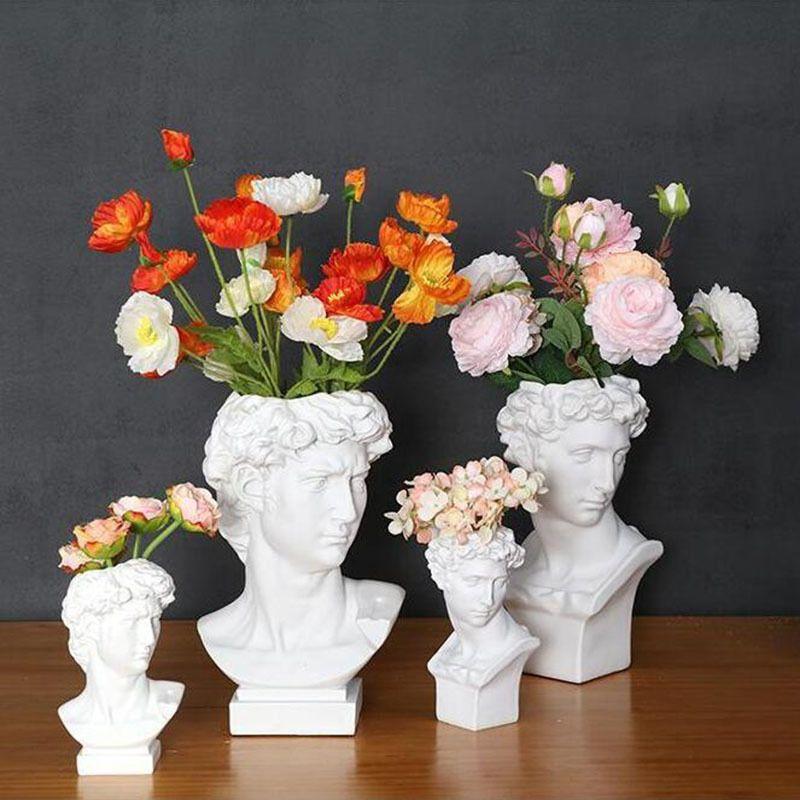 Vaso de resina Decoração de casa maquiagem escova caixa de armazenamento caixa titular estilo europeu decoração david cabeça escultura modelo casamento t200624
