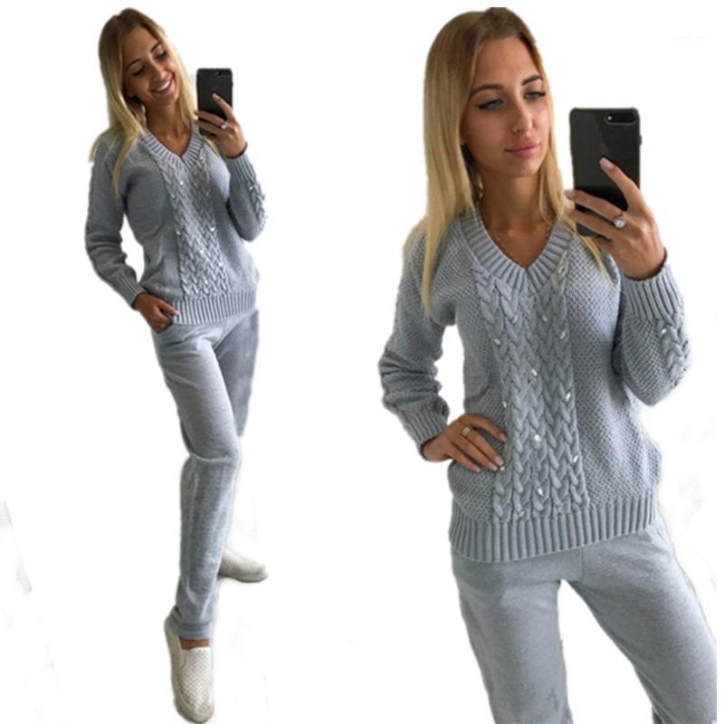 İki Parçalı Elbise MVGIRLRU Kadınlar Örme 2 Adet Elmaslar V Yaka Kazak Kazak Ve Örgü Pantolon Set1