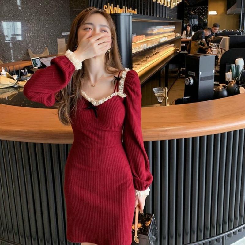 Primavera 2021 Nova camisola feminina de malha preto chique senhoras lace turtleneck quadrado vestido y245 g2jj