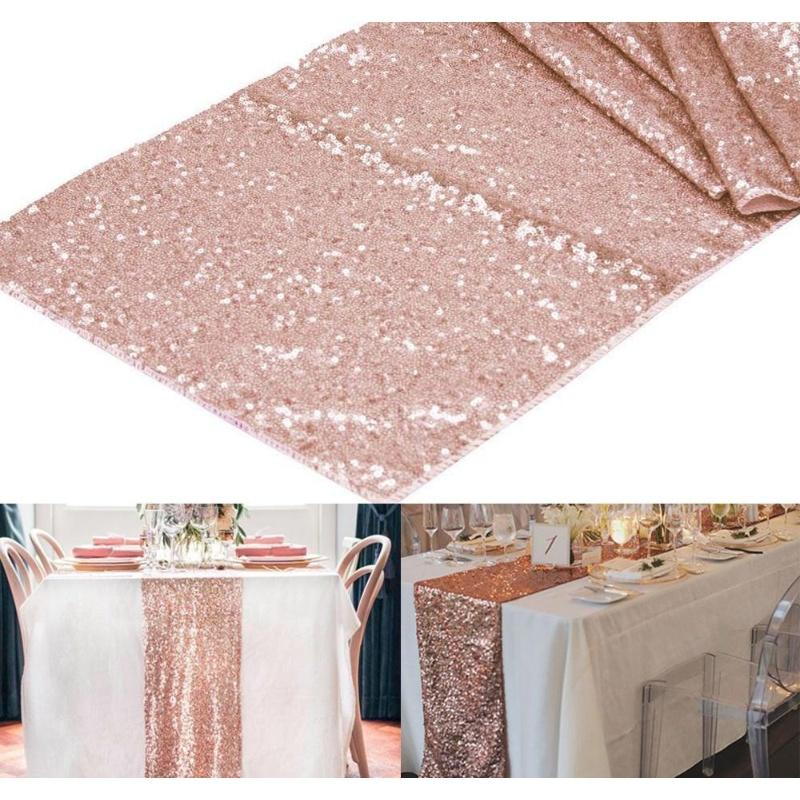 "Wholesale- 1Pcs 12""X108"" Rose Gold /Champagne Sequin Table Runner 30X275Cm Sparkly Wedding Party Decor Party Event Bling Table Oiebr"