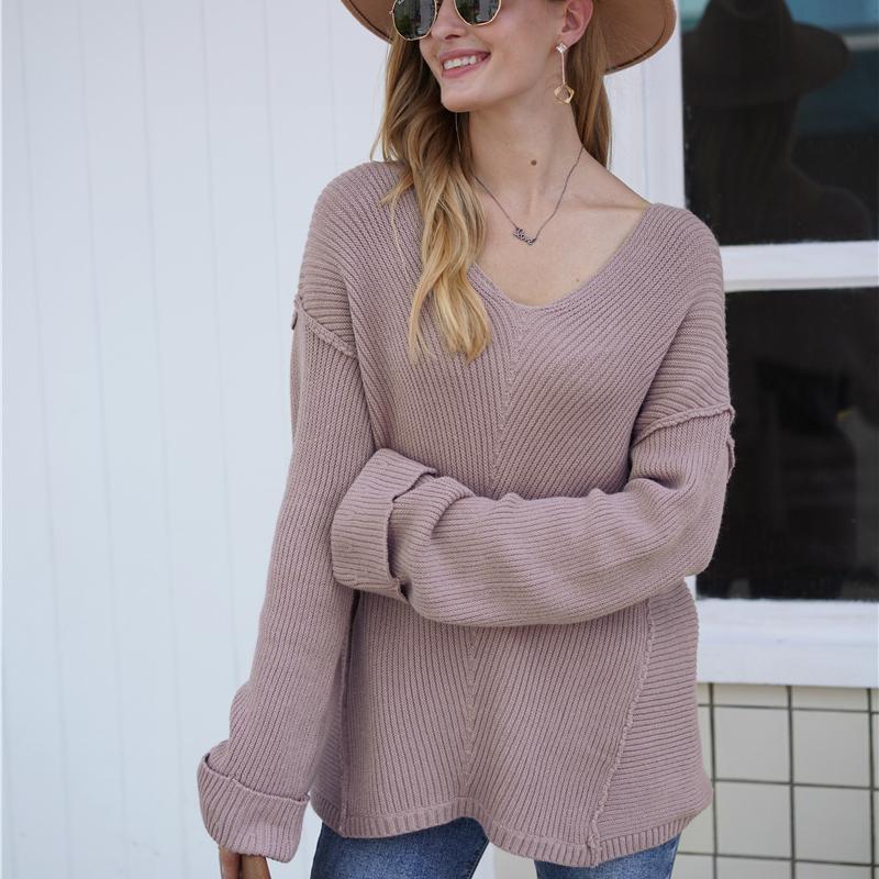 Mozuleva alta calidad V-cuello mujeres sueltan el suéter Tops Otoño Invierno Casual manga larga de gran tamaño de punto Jerseys Puentes 201016