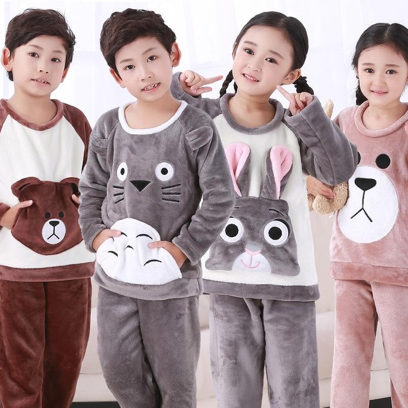 Осень зимние дети флисовые пижамы дома носить мальчики пижама теплые фланелевые спящие одежды девочки лаундж носить коралловый флис дети пижамы 201225