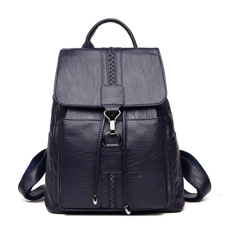Retro Designer Women Genuine Leather Backpacks Female School Bags For Teenager Girls Travel Shoulder Bag Bagpack Q1113