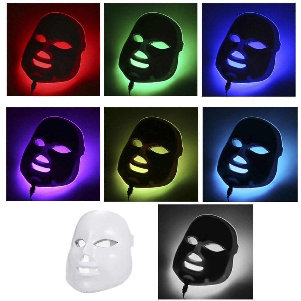 7 Couleurs LEDS Light Photon Face Masque Rajeunissement de la peau Thérapie Skin Rides