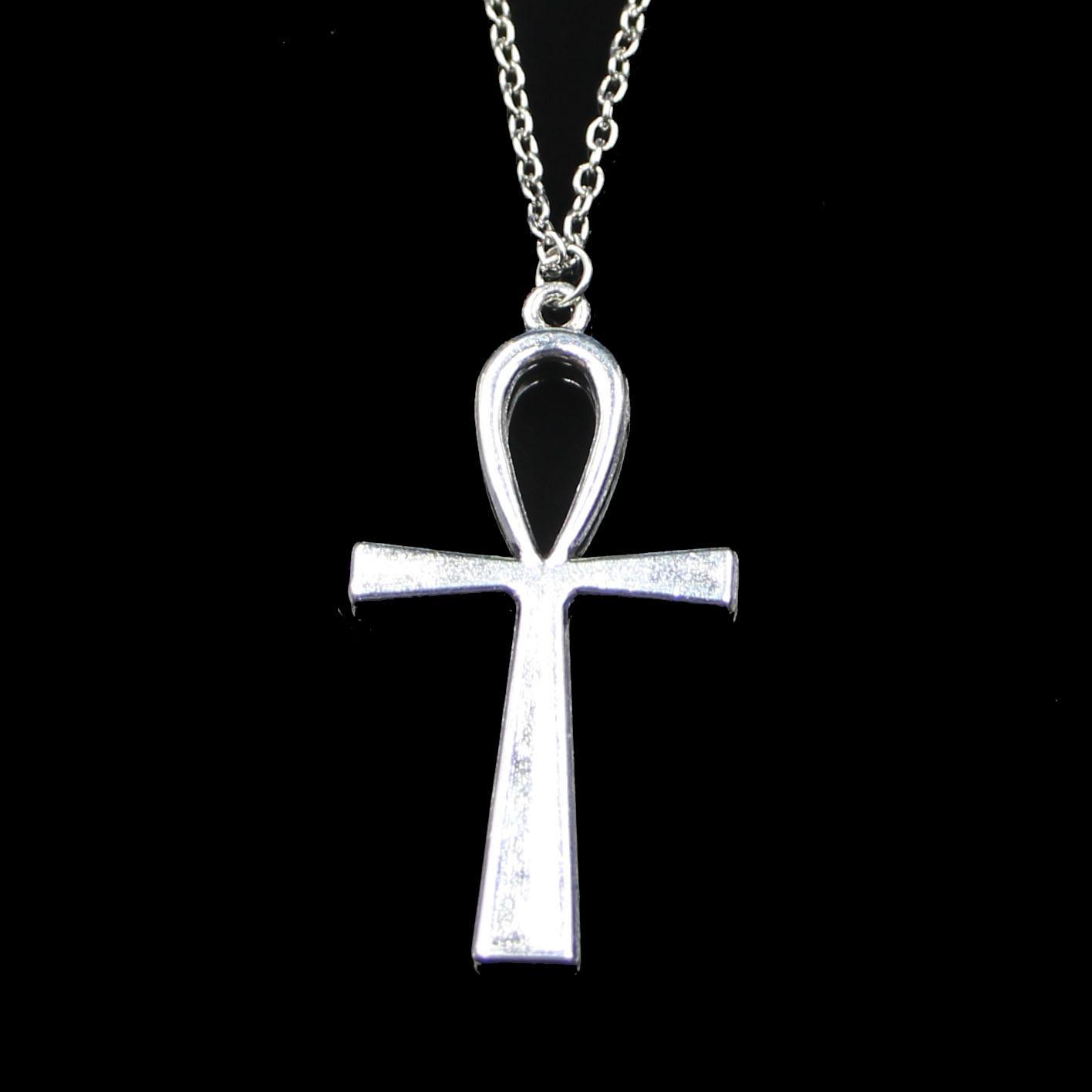 Moda 52 * 28 mm Cross Egipcio Ankh Símbolo de vida Símbolo colgante Collar Cadena de enlace para collar de gargantilla de sexo femenino Regalo de fiesta de joyería creativa