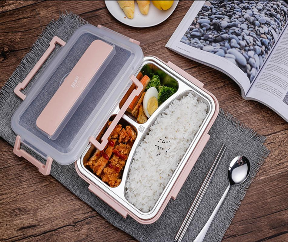 Caixa de almoço de aço inoxidável Oneup Eco-friendly trigo recipiente de alimentos com cutelaria Bento Box com compartimentos Microwavable T200429