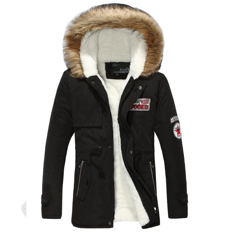 Yuwaijiaren Winter Мужская Parka пальто хлопка способа сгущения Теплый чистый цвет тонкий вскользь с капюшоном куртки и пальто