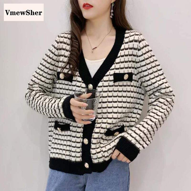 Vtimewsher nuevo suéter a rayas cárdigans mujeres ropa de punto otoño soltero pecho vendimia moda suéter abrigo punto top streetwear