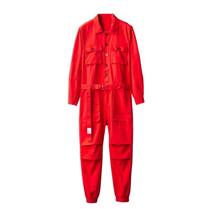 Men's Pants Jumpsuit Men Overalls Cargo Long Sleeve Lapel Beam Feet Cotton Hip Hop Streetwear Loose Freight Red Black Trousers