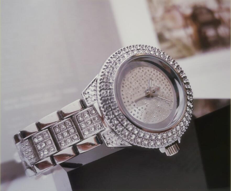 Haute Qualité Skie Diamond Dial Lady Steel Chaîne Montre-Bracelet Diamant Crystal Lady Horloge Femme Montre Femme Relogio Feminino