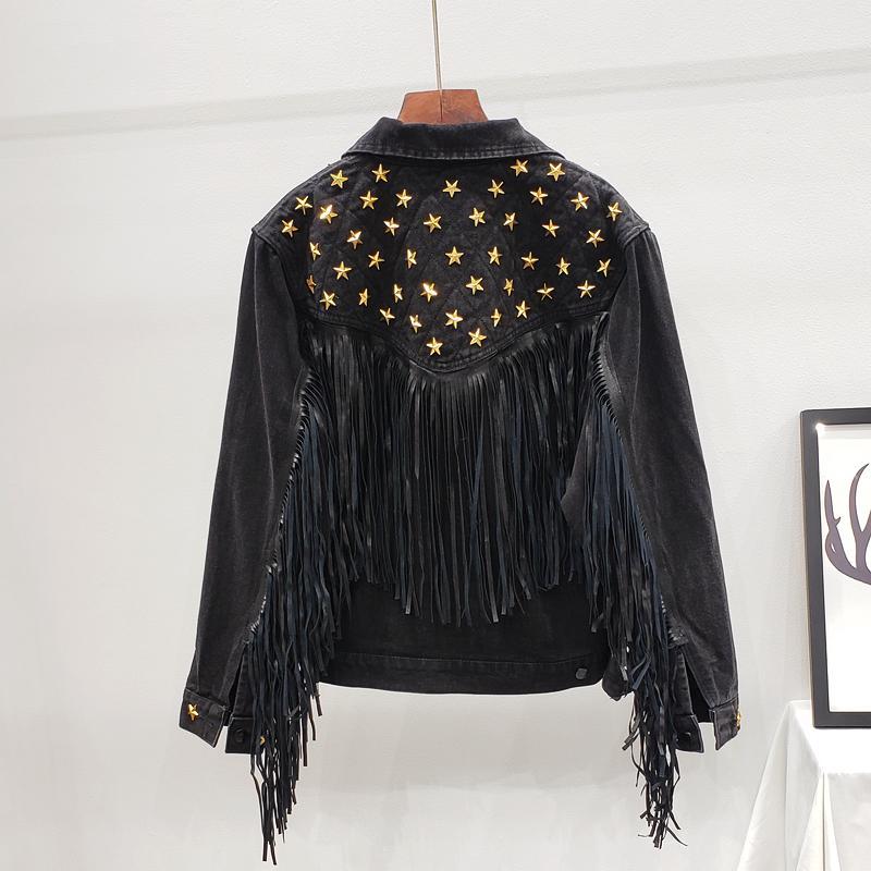 Denim Mulheres Jacket Brasão Outono Nova Primavera Vintage Estrela Rivet Suede franja solta manga comprida Casacos Feminino Boho Jacket 201007