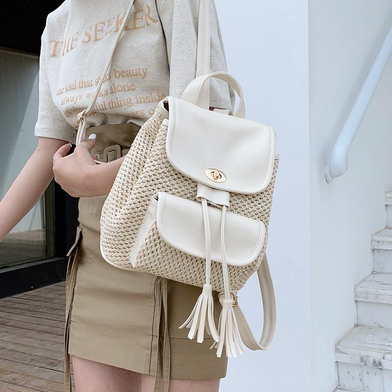 мода солома рюкзаки ротанга рюкзак для подростков девочек плести lucury школьных сумок Пу случайного лето пляж путешествие кошелек большой C1017