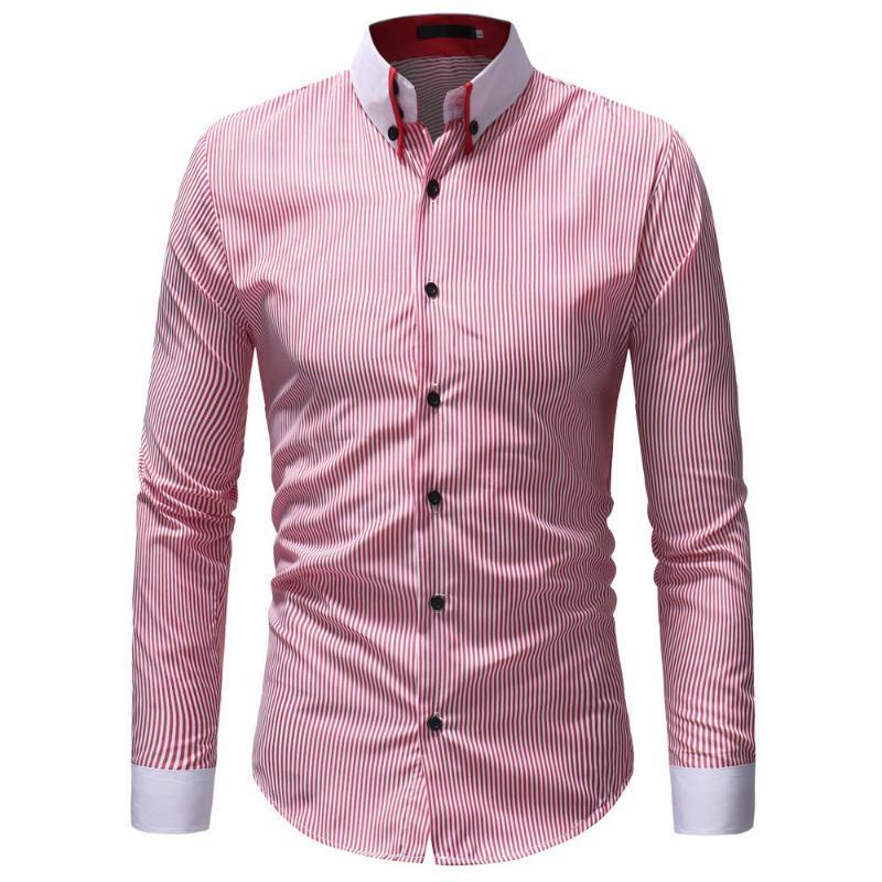 Camisas de vestir de los hombres WSGYJ SMALL RAYA CAMISETA 2021 Moda coreana de manga larga Casual Algodón Negocio Social Ropa social