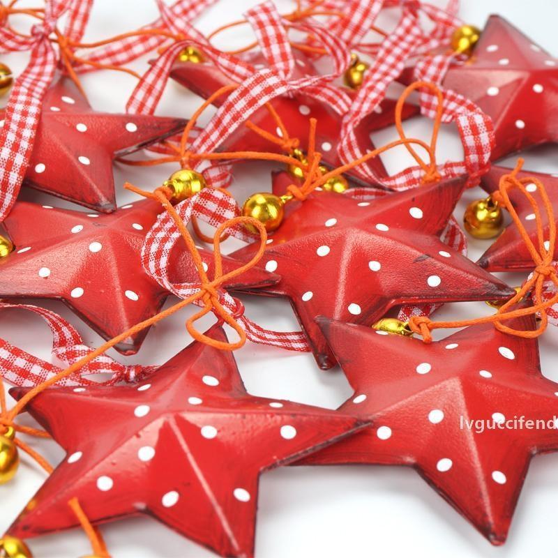 Новый дизайн Рождество Для домашнего 12шт Урожай металла Рождественская звезда С небольшой колокол украшения рождественской елки 2018
