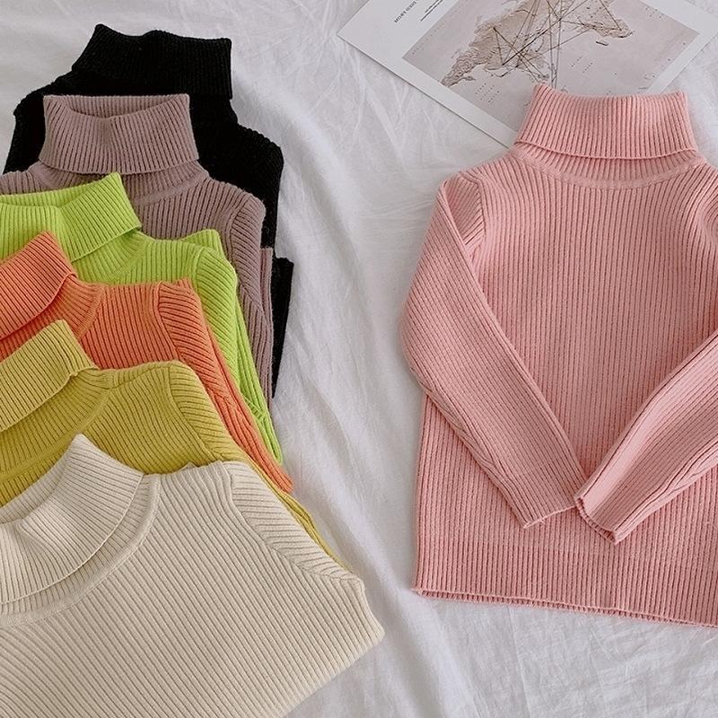 Зимние девушки теплые вязаные с высоким воротником свитера детские дети конфеты цветные повседневные свитер детская одежда 201104