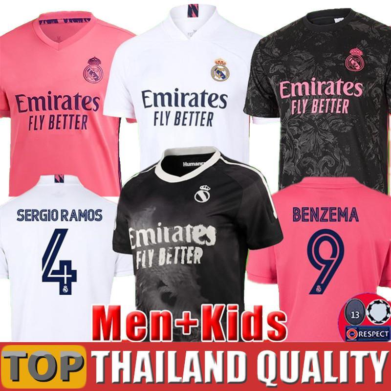 (20 개) (21) 축구 유니폼 위험 레알 마드리드 2020 세르지오 라모스 축구 셔츠 2020 2021 벤제마 아센시 HUMANRACE 남성 여성 아동 키트 유니폼을 설정