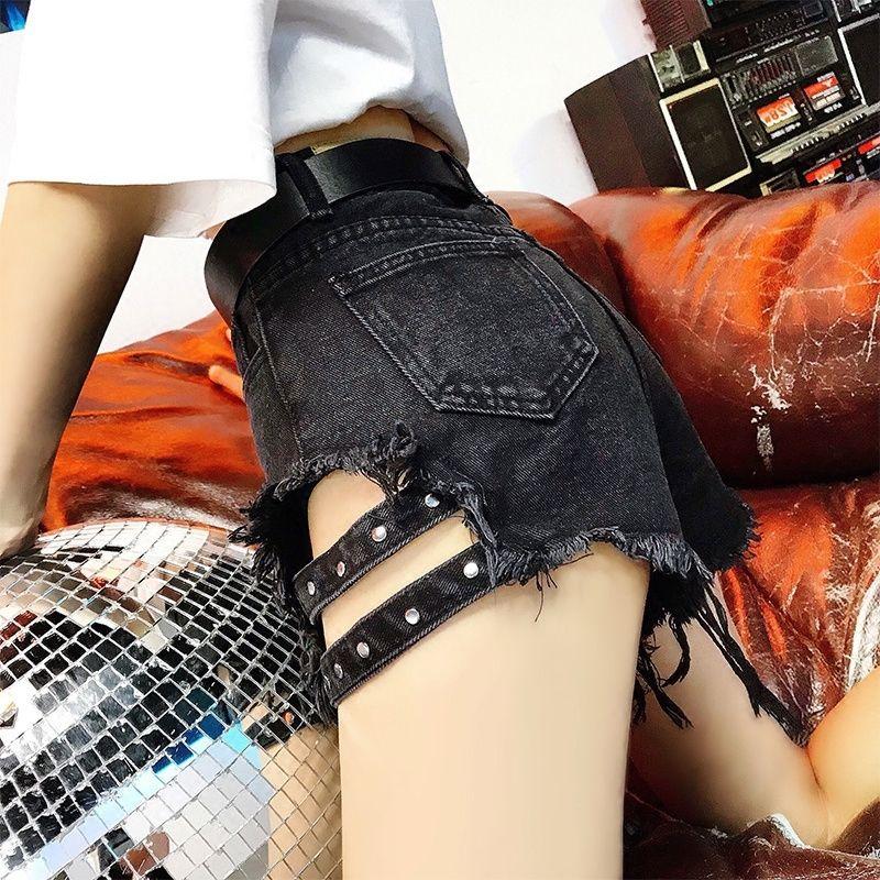 Kkillero разорвал дыры джинсы шорты уличные носить высокую талию бахрома джинсовые горячие шорты летние сексуальные шорты Femme Plus размер 5XL T200512