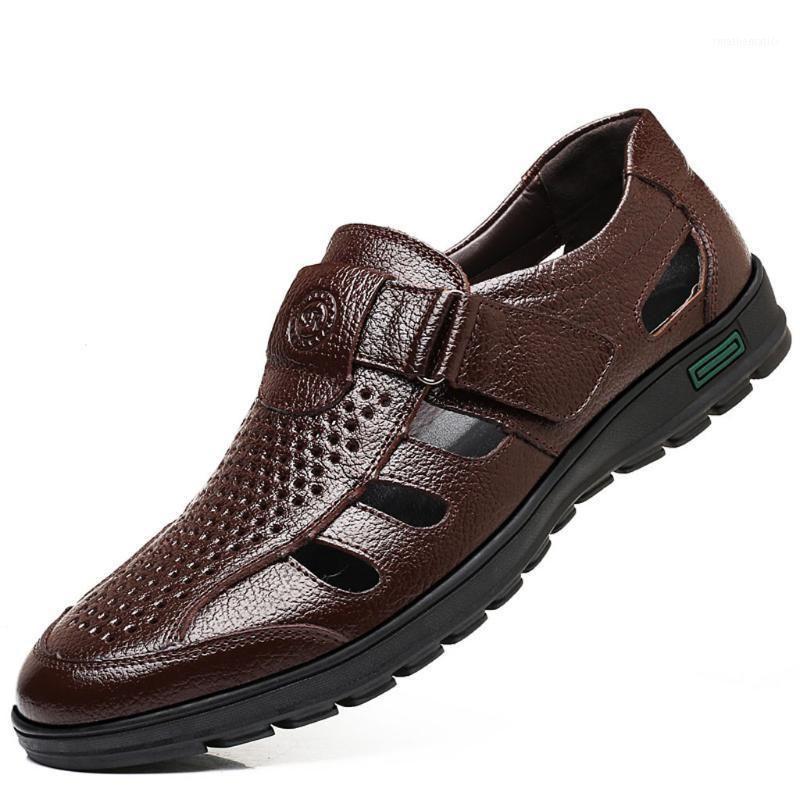Erkekler Iş Rahat Ayakkabılar Erkek Sandalet 2020 Yaz Deri Ayakkabı Büyük Boy Yumuşak Rahat Yuvarlak Toe Terlik Sandalias1