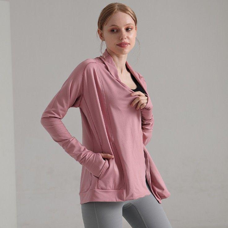 Hoodies Mulheres Designers Roupas Roupa de Mujer Top Grade Outono Exercício Yoga Casaco Zipper Sweater Lapela Slim Manga Longa