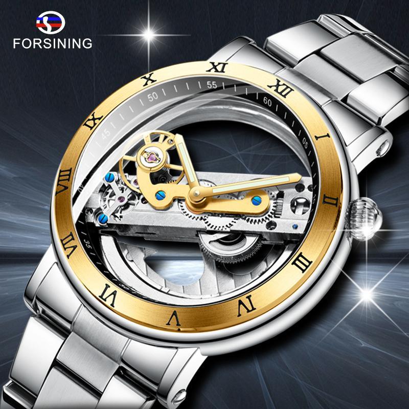 Forsiging Yeni Erkekler Otomatik Mekanik Saatler Üst Marka Lüks Paslanmaz Çelik İzle İskelet Şeffaf Spor Erkek Kol Saati LJ201124