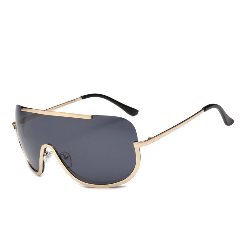Hipster Quadro Oversized siameses Sunglasses Moda Goggles na moda uma peça Óculos de metal Instagram Rua Tiro Sunglasses