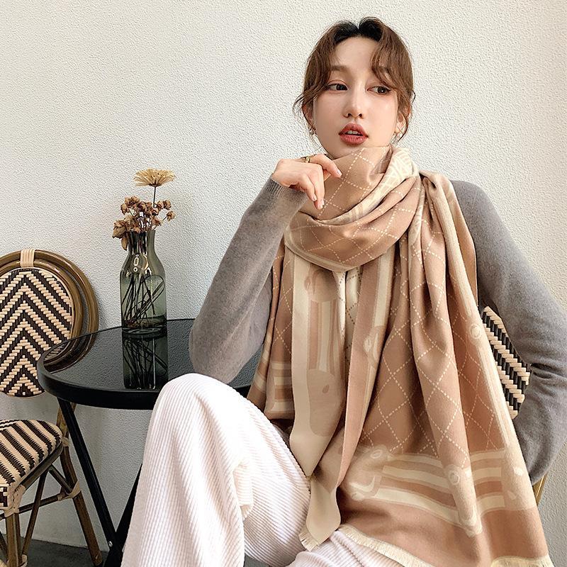 2020 lana della Nuova reticolo inverno Stampa Telo mare popolare in autunno, tenere al caldo le nappe di spessore moda scialli di cachemire di donne sciarpa