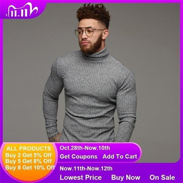 Neue Art und Weise Winter-Strickjacke Warme Pullover mit Stehkragen Männer Pullover Slim Fit Pullover Klassische Sweter Männer Strick Pull Homme Q1110