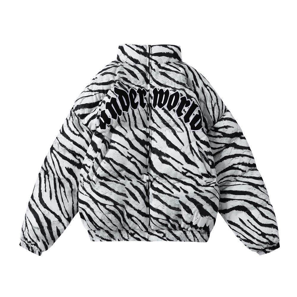 유일한 남성 두꺼운 따뜻한 재킷 스트리트 힙합 여성 캐주얼면 패딩 얼룩말 스트라이프 지퍼 파카 코트 겨울 하라주쿠는 착실히 보내다 탑
