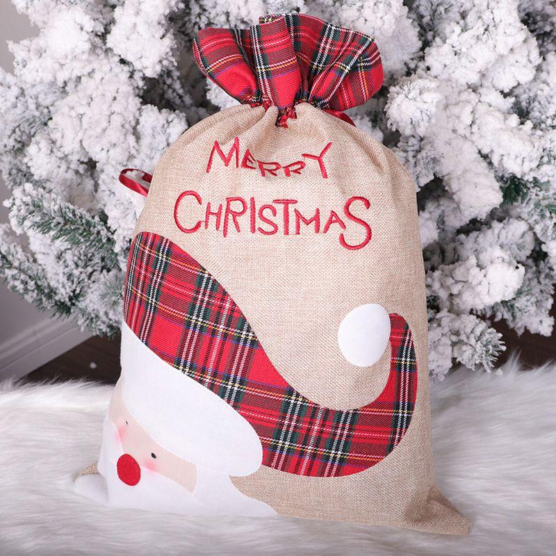 Быстрая доставка Санта-Клаус Олень Рождество мешковины мешок подарка Drawstring ленты кулиской конфеты мешок Новогоднее украшение сумка F9002