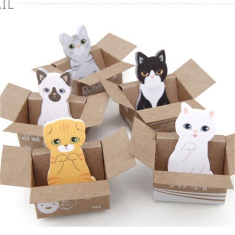 40 عبوات / الكثير لطيف الكلب القط صندوق مذكرة الوسادة مثبت ملاحظات مخطط ملصقات منصات الكورية القرطاسية بالجملة 201016