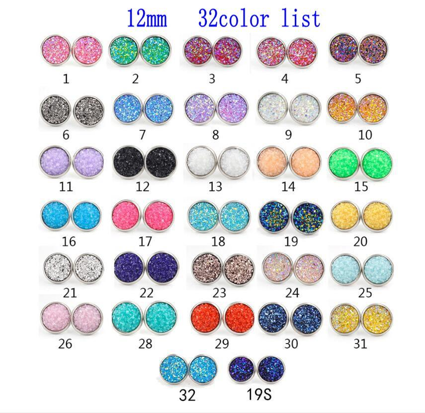 8mm 12mm Nice handmade resin round mermaid druzy earrings trendy simple stainless steel Tone wholesaling resin stone earring for lady gift