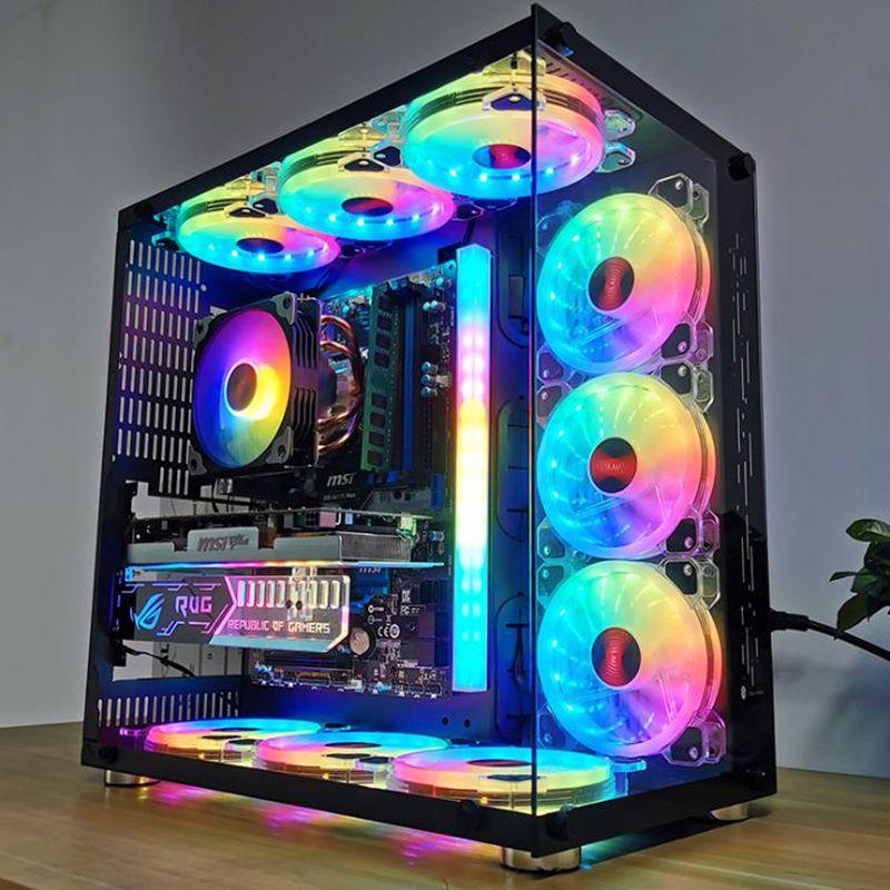 12см Тихая Симфония Luminous Crystal Clear Компьютер вентилятора охлаждения RGB Корпус вентилятора