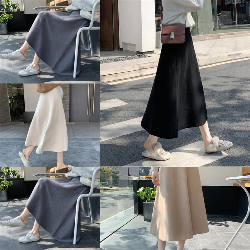Bp4Ek PU Knee Length Skirts Fashion Female Clothing maxi skirt wed Autumn Slimming Winter Crotch Cover Hip Designer Skirt Casual Skirts