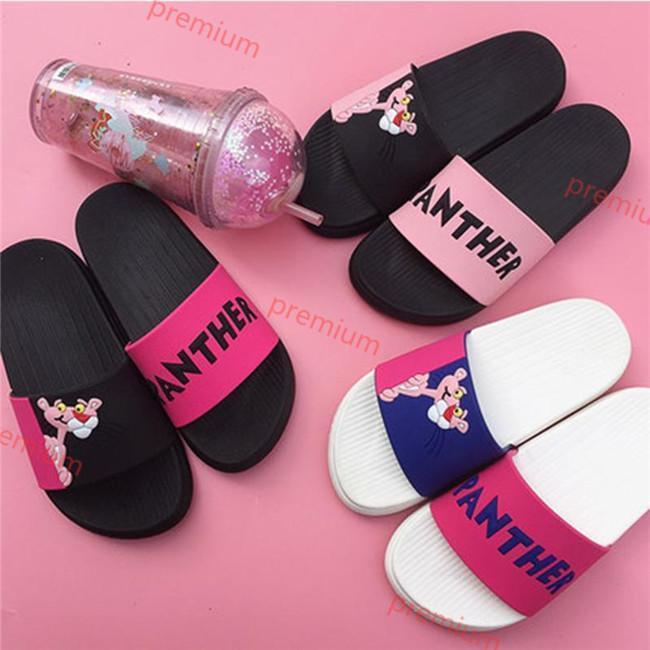 Hococal 2020 mujeres del verano de zapatilla de diapositivas Pink Panther Lovely Beach dibujos animados Plataforma sandalias de los deslizadores de las mujeres Zapatos chanclas Zapatillas