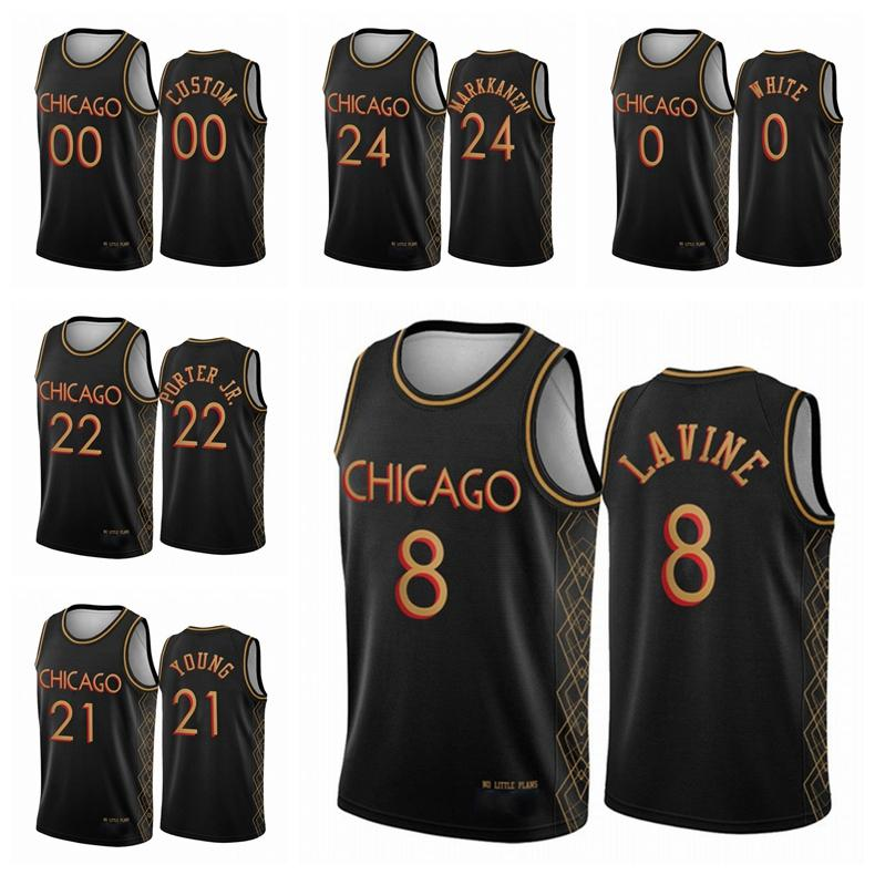 ChicagoBullsMen Lauri Markkanen Zach LaVine Coby White 2020/21 Swingman CityNBA Basketball Jersey Black Icon Edition