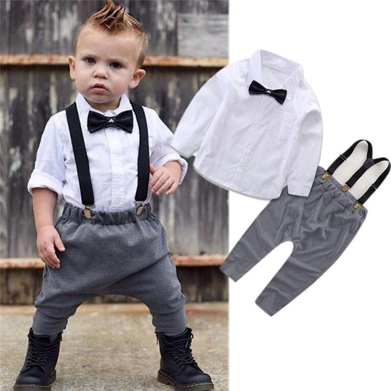 작은 신사 의상 신생아 아기 소년 옷 흰색 셔츠 탑스 + 바지 정지 바지 2pcs 복장 봄 가을 정장 Y200323