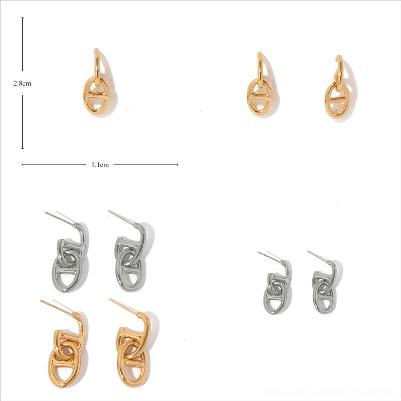 HSBJK Champagne Géométrie Fashion Boucles d'oreilles pour Femmes Advanced New Big Boucle d'oreille Luxe Simple Bijoux Créativité Micro-incrustation Retro Zircon