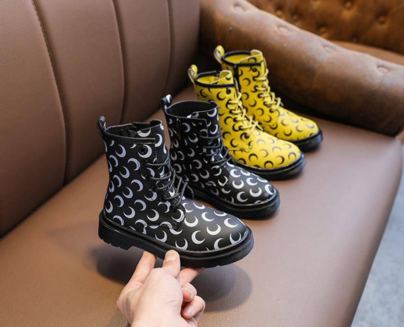 Fashion hot sale new high quality girls Martin boots British style side zipper moon color matching low boots