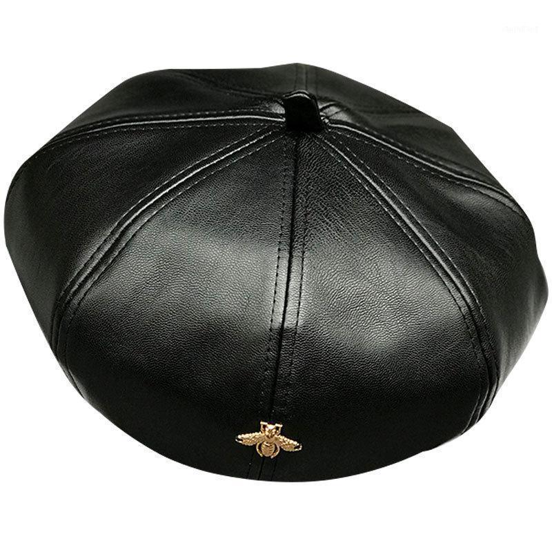 Berets mulheres elegante tendência pu chapéu de couro outono outono quente artificial para senhoras abelha de ouro feminino marca designer cap1