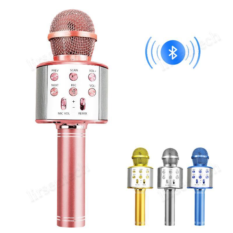 Bluetooth sem fio de áudio microfone de mão Karaoke Mic USB Dropship Mini Início KTV orador da música Para o jogador HiFi Subwoofer altíssima qualidade