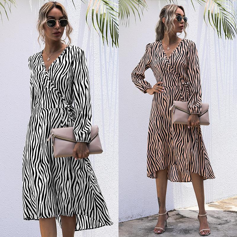 2020 Moda Eğilim Kadınlar Sonbahar Yeni Gevşek Elbise Zebra Desen Uzun Kollu V Boyun Bel Dantel Rahat Parti Tatil Midi Elbise