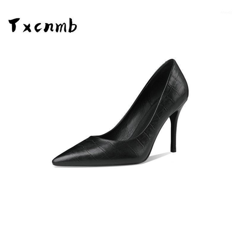 Sapatos de vestido Mulher apontou Bombas de couro genuíno para mulheres rebocados saltos de salto slip-on festa senhora artesanal thin heels1