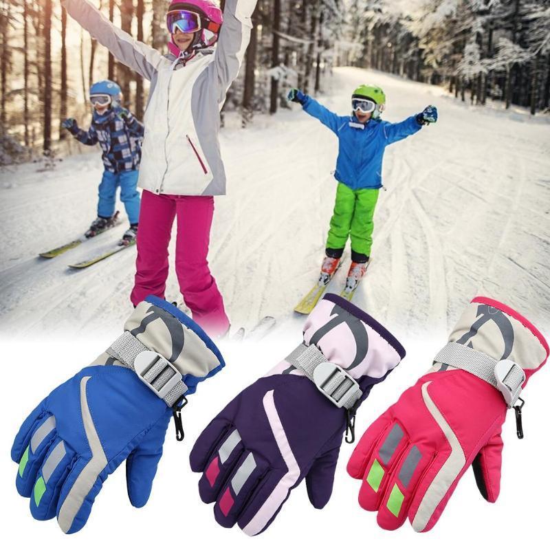 Enfants Garçons Filles Motoneige Hiver chaud Gants de ski Sport imperméable coupe-vent neige Mitten réglables Gants de ski Sangle de ski