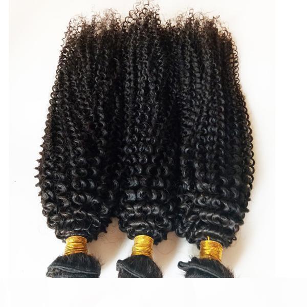 İşlenmemiş Brezilyalı Bakire İnsan Saç Ucuz Fabrika Fiyat Kinky Curl Saç Uzantıları 3 4 5 ADET Lot Doğal Renk ve Siyah # 1 # 1B DHGATE