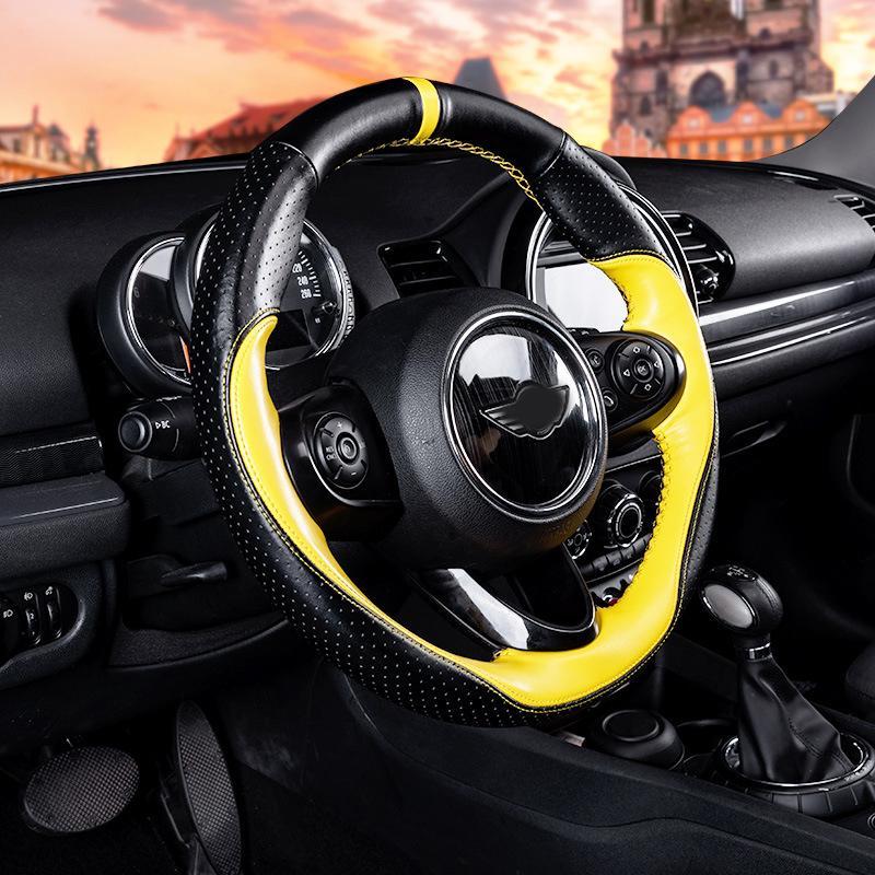 Автомобиль реальной кожи Streering подколесный 38см Интерьер Protector Украшение для BMW Mini Cooper One R55 R56 F55 F56 Автоаксессуары