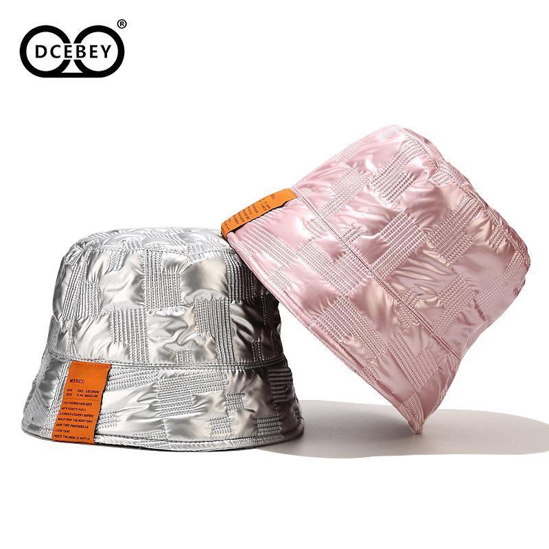 DCEBEY nuovo modo dell'unità di elaborazione Sticker secchio cappelli per il cappello di pesca del cappello Hip-Hop Street di Uomini Donne inverno antivento Velvet Giù Pescatore
