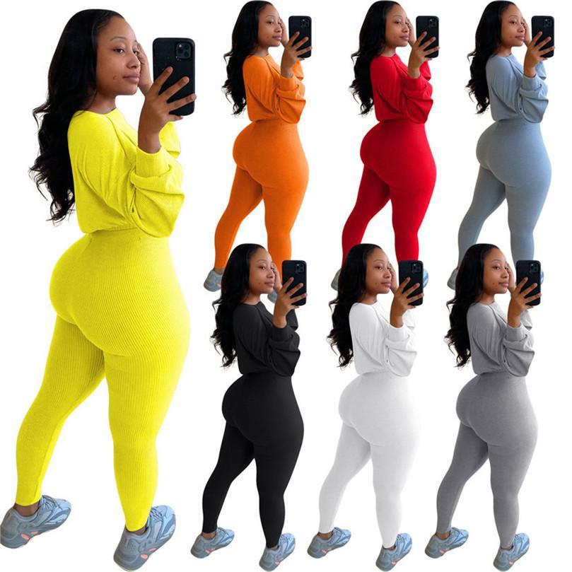 12 stylesWomen conjuntos de dos piezas de Cultivos Sudadera con capucha Blusas Camisas y pantalones polainas flacas mono de la manera ropa de punto acanalado F92912